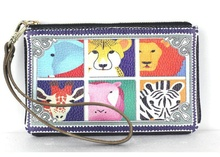 New Women Real Leather Clutch Animal Pattern Wristlet Coin Purse Change Wallet