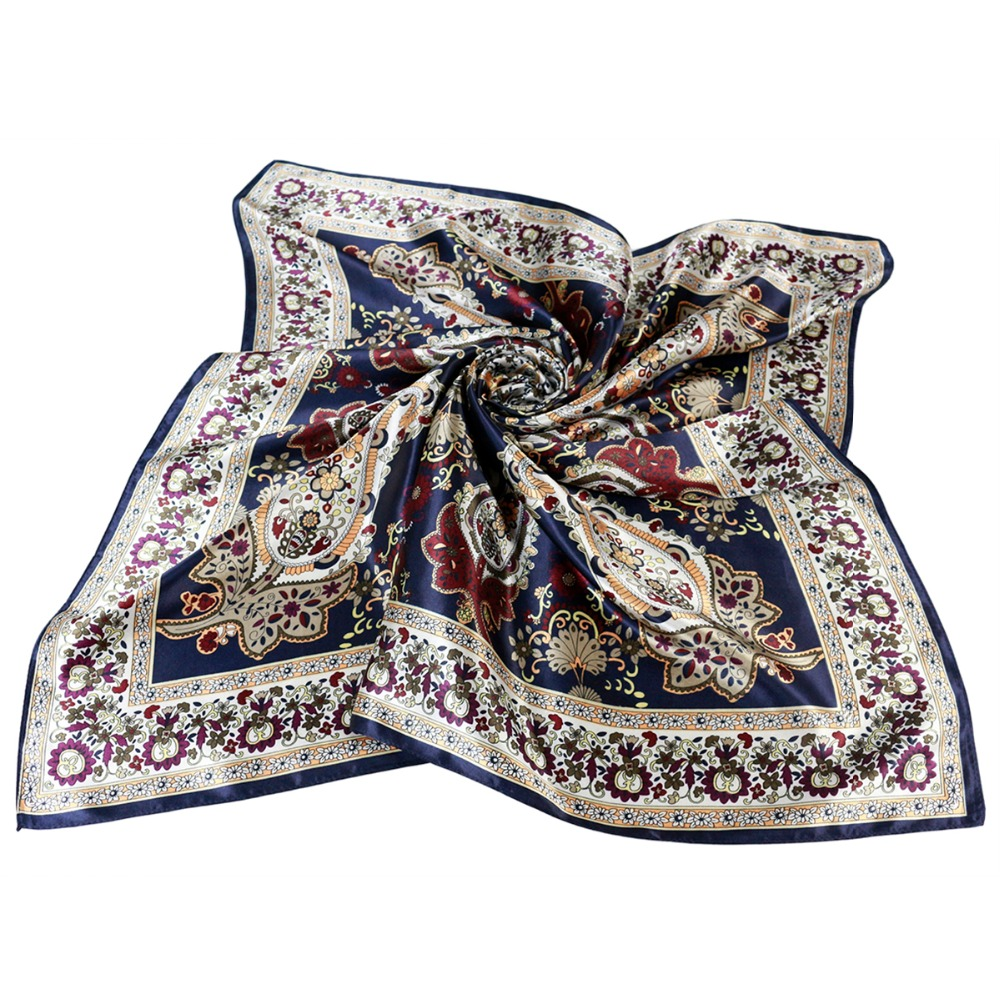 navy scarf mujer silk square scarf soft shawl head neck apparel accessories femme hijabs shawls paisley silk scarf 90cm print in Women 39 s Scarves from Apparel Accessories