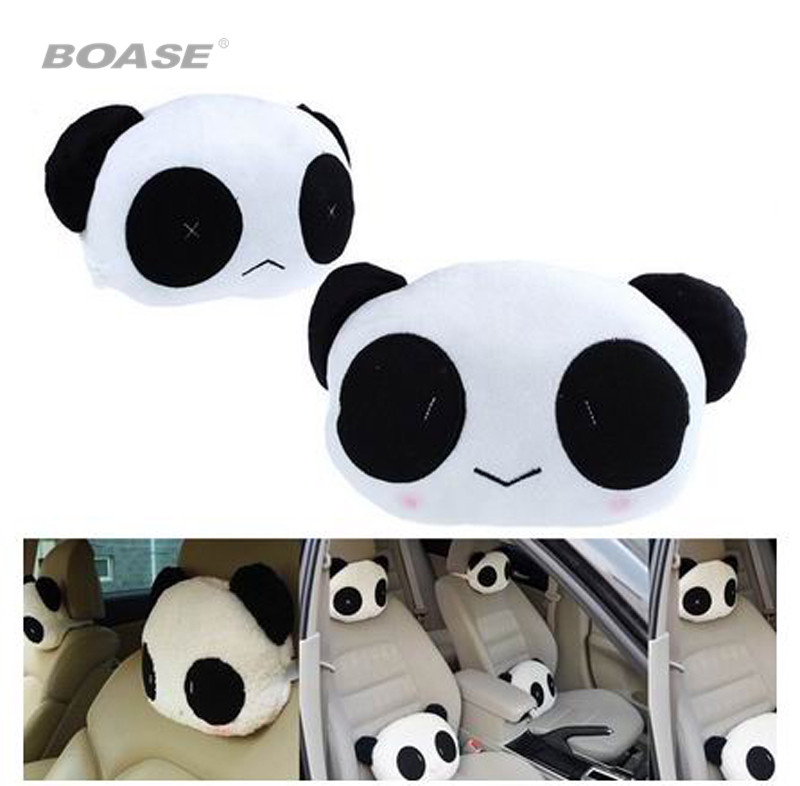1 pair of lovely panda pattern car seat neck cushion pillow soft back cushion neck pillow car seat cover accessories