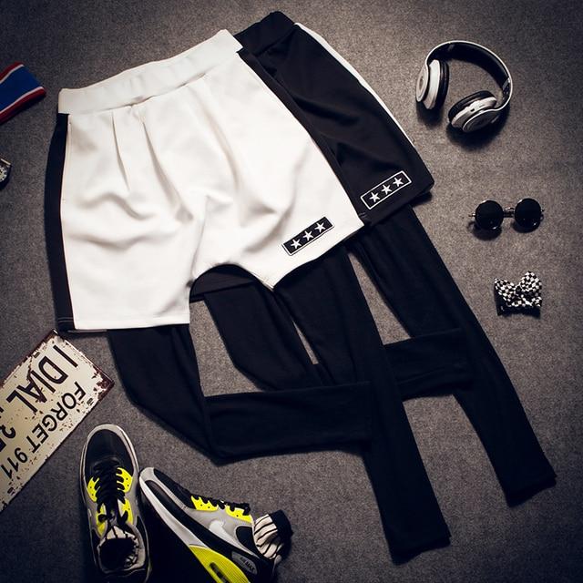 #1715 2016 Spring summer Men space cotton legging Faux two piece Hip hop pants Casual Men jogger pants  tights men