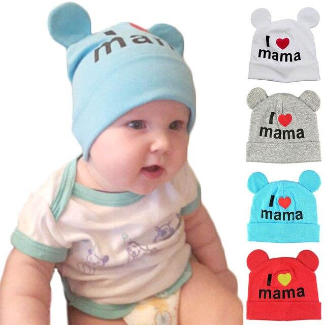 Sombrero del bebé recién nacido bebé niño sombrero de algodón me encanta  mamá impresión sombreros de ac6a34c89b5