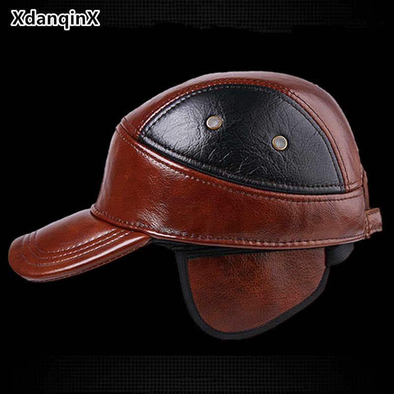 384a61f9d4a Genuine Leather Cap Winter Men s Hat Thicken Leather Warm Baseball Caps  Adjustable Size Snapback Tongue Cap
