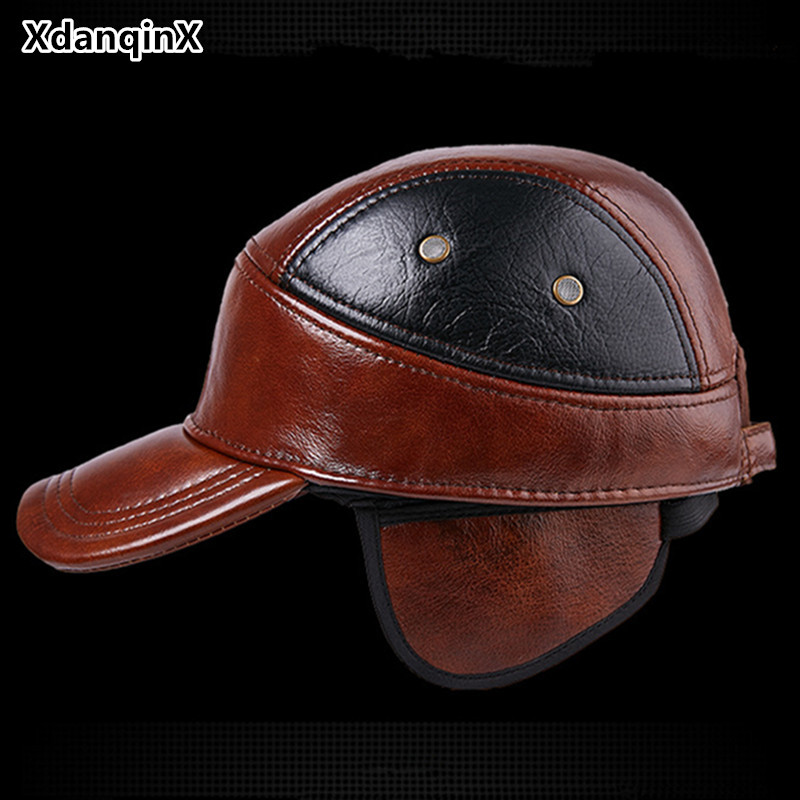 Genuine Leather Cap Winter Men's Hat Thicken Leather Warm Baseball Caps Adjustable Size Snapback Tongue Cap Sombrero De Hombre hot winter beanie knit crochet ski hat plicate baggy oversized slouch unisex cap
