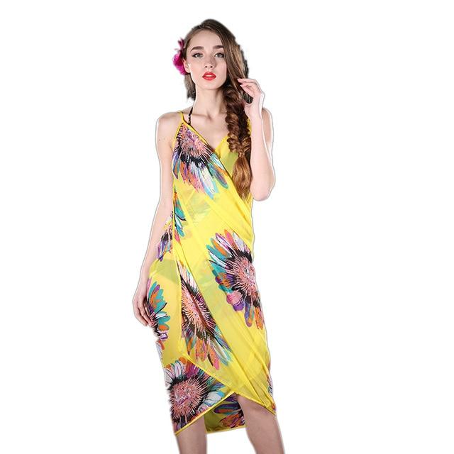 04df67176c9c4 Women Beach Dress Sexy Sling Beach Wear Dress Sarong Bikini Cover-ups Wrap  Pareo Skirts Towel Flower Open-Back hot selling