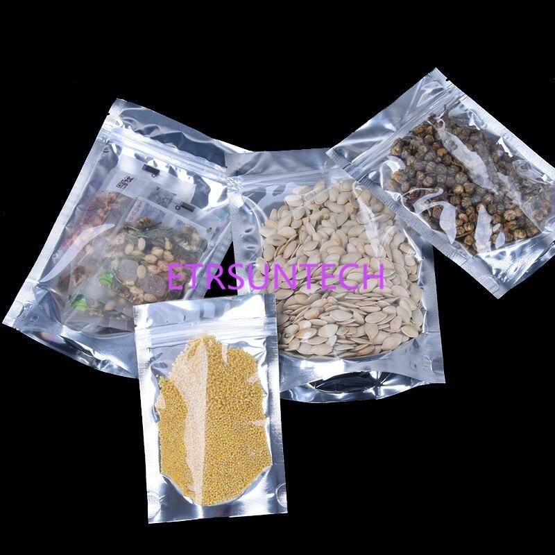 13*18cm 2000pcs Reusable Stand up Translucent Aluminium foil Bag Zip Lock Grip seal