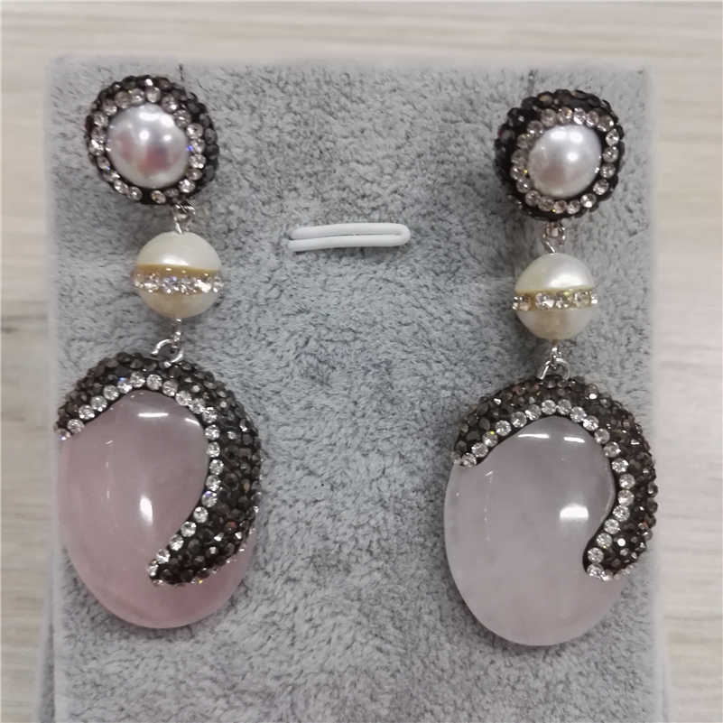 natural pale pink crystal stone pave black and rhinestone charms with natural  pearl jewelry connector dangle a3745917a68d