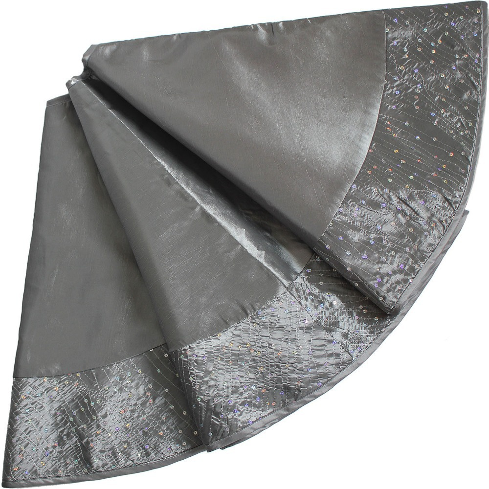 extra large 50 christmas tree skirt decoration with sparkle sequin border elegant silver p1419 10p1419 10s in tree skirts from home garden on