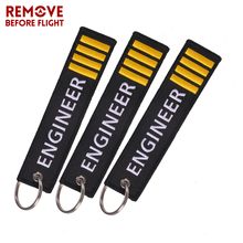 Fashion Engineer Pilot Key Chain 3PCS/LOT Remove Before Flight OEM Embroidery Black Label Luggage Safety Tag Keyring Car Gif