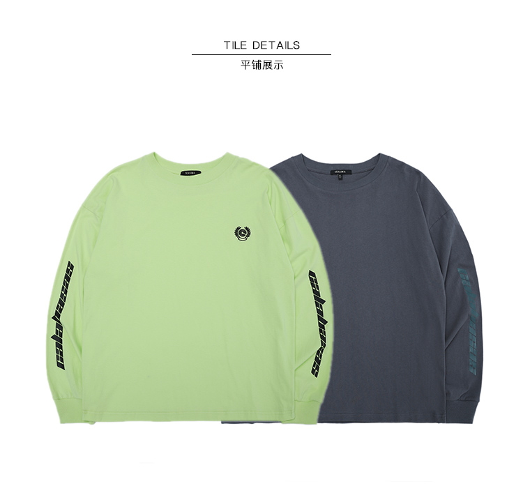 2019SS NEW TOP KANYE WEST Season <font><b>6</b></font> Calabasas Letter print men Long sleeve t <font><b>shirt</b></font> hip hop Fashion Casual Cotton <font><b>tee</b></font> gray S-<font><b>XL</b></font> image
