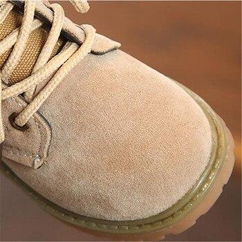 صبي فتاة حذاء من الجلد والجلود الأطفال السود الجيش التمهيد الخريف الاطفال الرياضة بوتاس عدم الانزلاق طفل حذاء رياضة