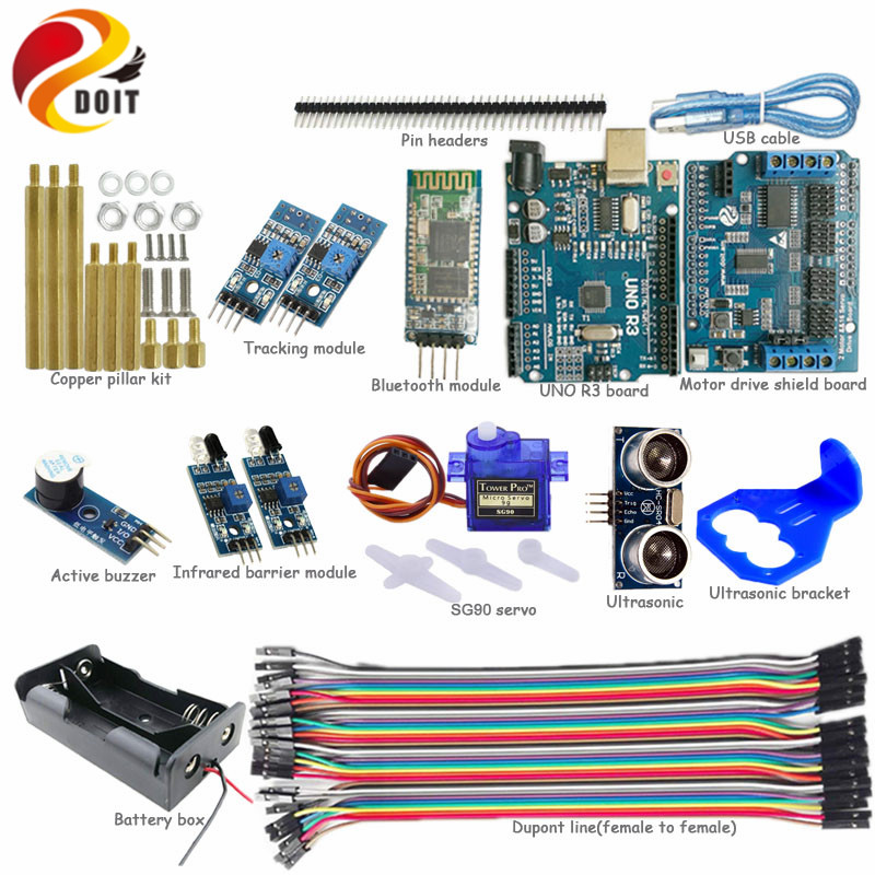 1 set Bluetooth Control Kit with UNO R3 Board for Arduino+Motor Drive Shield Board+Ultrasonic Sensor for Tracking Obstacle DIY