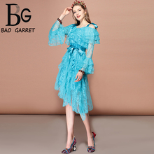 Baogarret Summer Fashion Runway Casual Holiday Party Asymmetrical Dress Women's Spaghetti Strap Belted Elegant Lace Dress