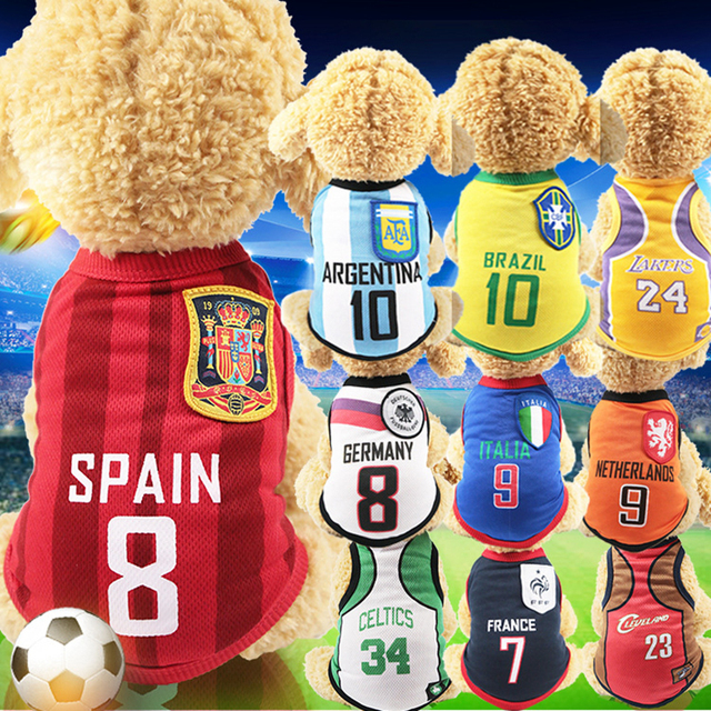 Perro de deporte de verano chalecos para mascotas gato sudadera Francia  fútbol Portugal baloncesto Jersey ropa 4b12865309986