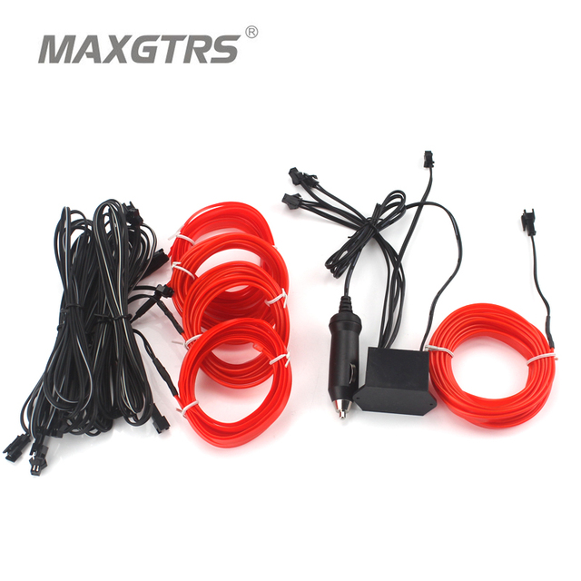 3+2 Meters Car Led Flexible Neon Cold Interior Atmosphere Light Glow ...