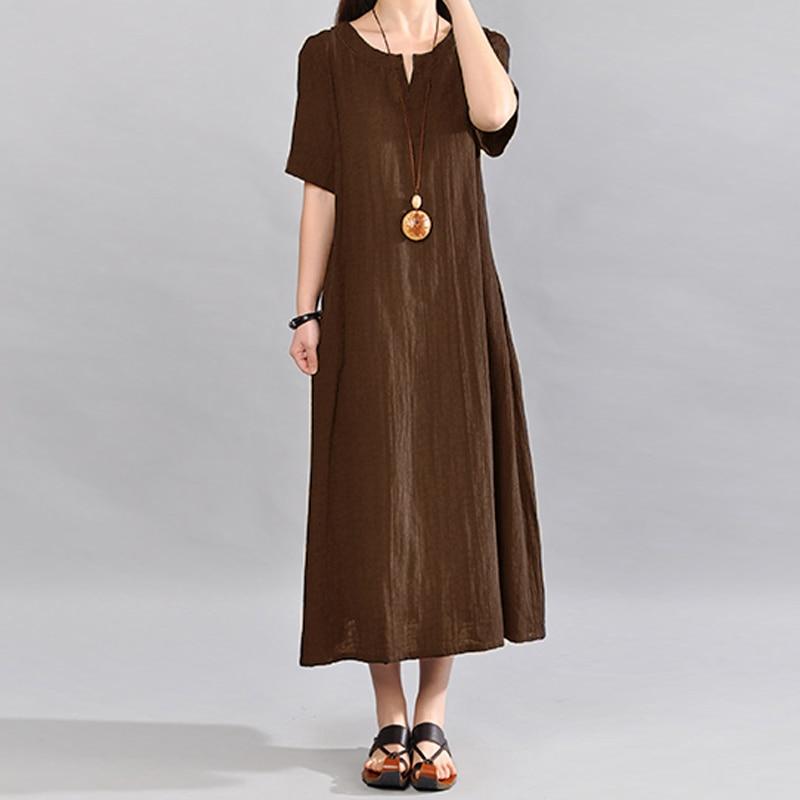 S-5XL Celmia Women Vintage Linen Dress 2019 Summer V Neck Short Sleeve Solid Pockets Casual Loose Midi Dress Oversized Vestidos