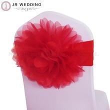 20 шт красный органза индивидуальные красочные большой цветок большая Роза спандекс лайкра стул лента для свадьбы декор