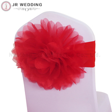20pcs Red Organza Customized Colorful Big Flower Big Rose Spandex Lycra Chair Band Chair Sash for Wedding Decor