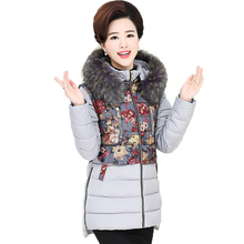 Winter Woman Fur Hooded Puffer Quilted Jackets Flower Red Black Blue Green Basic Coats Middle Aged Women Warm Padded Overcoats