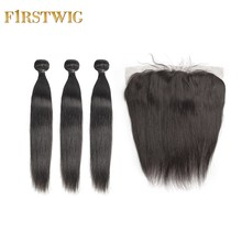 FirstWig Brazilian 3/4 Human Hair Bundles with Frontal Straight Weave Virgin Lace Frontal Closure with Bundles Hair Extension(China)