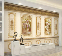 beibehang Custom wallpaper 3d mural European luxury garden flower gold home decoration siding mural wallpaper 3d papel de parede цена и фото