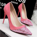 Free shipping new fine with shallow mouth pointed high-heeled suede matte sequins spell color shoes
