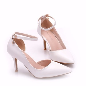 Image 5 - Crystal Queen Women White  Heels Sexy Wedding White Shoes Fetish 8cm High Heels Lady Stiletto Plus Size Pumps Sandals