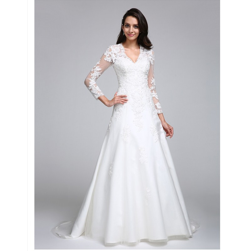 Long Sleeve V Neck Wedding Gown: Aliexpress.com : Buy LAN TING BRIDE Backless A Line