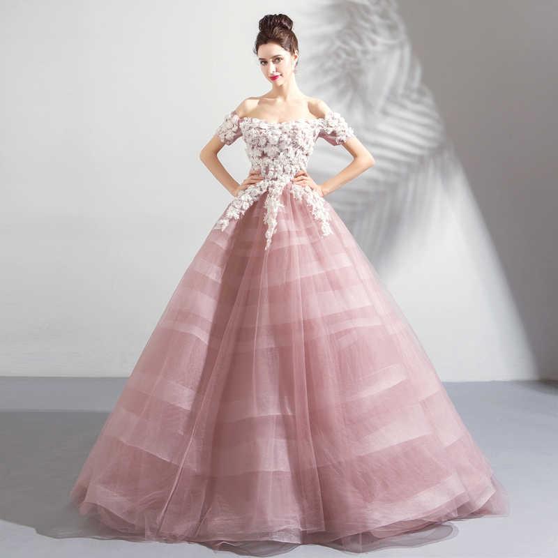 f629a19402 ... It s YiiYa Evening Dress 2018 Boat Neck Elegant Fashion Flower Organza  Floor-length Evening Gowns ...
