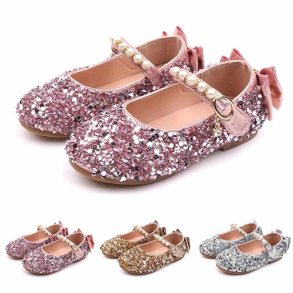 ילדי ילדים בנות חמוד ילדים של נעלי 2018 קיץ ילדים חדשים קריסטל Bowknot פרל נסיכת ריקוד יחיד נעליים יומיומיות