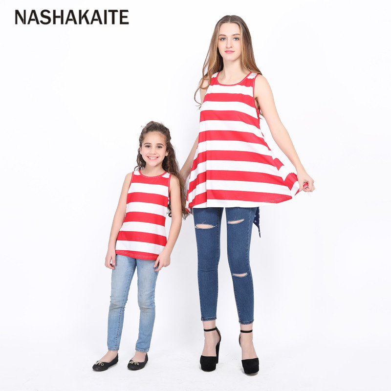 Family tshirt mama and daughter clothes Stripe Back Big Bownot Mother and Daugher T-shirt Ropa familia mama hija NASHAKAITE