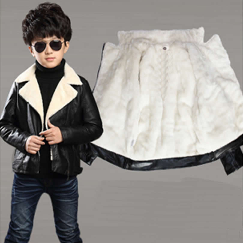 Boy and Girls Leather Jacket Coat autumn/winter New Children Korean Version Plus Velvet Thick Jacket Warm Leather Jacket Cloth
