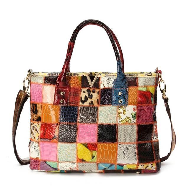 Aequeen Las Sheepskin Casual Totes Women Genuine Leather Crossbody Bags Patchwork Handbags Shoulder Bag Random