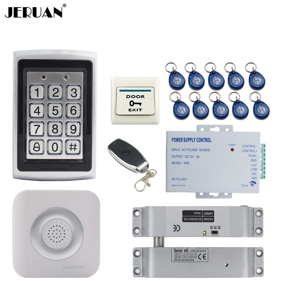 JERUAN RFID Password Access Controller Metal Waterproof Backlight button Door control system kit + Doorbell+ Remote control jeruan metal waterproof rfid password touch access controller system kit speaker doorbell remote control in stock free shipping