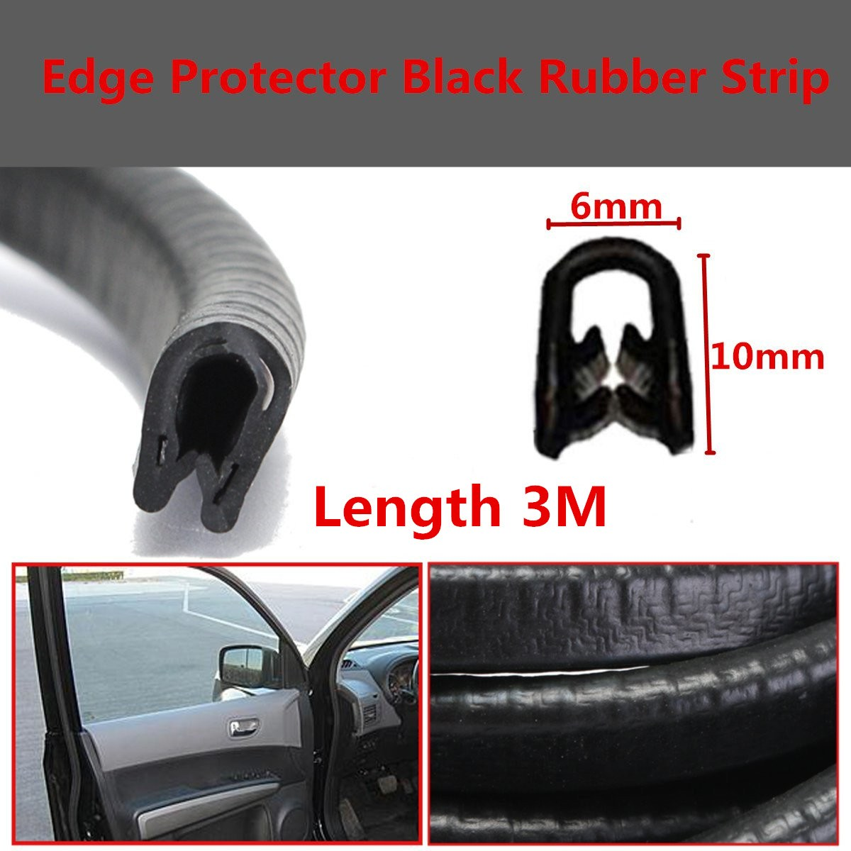 Small U section black rubber car edge protective trim 8mm x 6mm