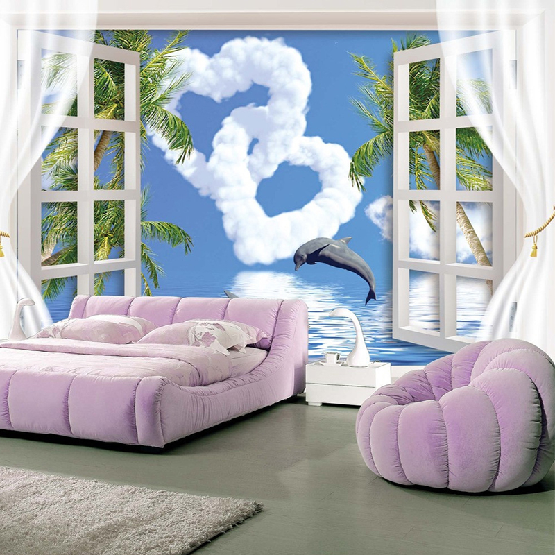 Personalized Creative Outside The Window Blue Sky Love Clouds Jumping Dolphin Wallpaper 3D Living Room Backdrop Papel De Parede