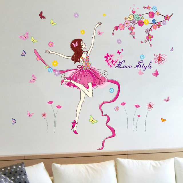 Captivating Dancing Girl Wall Stickers Flower Pink Color Swing Space Mural Sticker For Girls  Kids Rooms Home Part 17