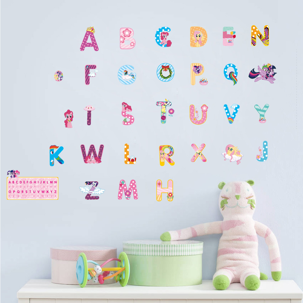Cartoon Alphabet Lovely Letters Wall Stickers For Kids Rooms Nursery