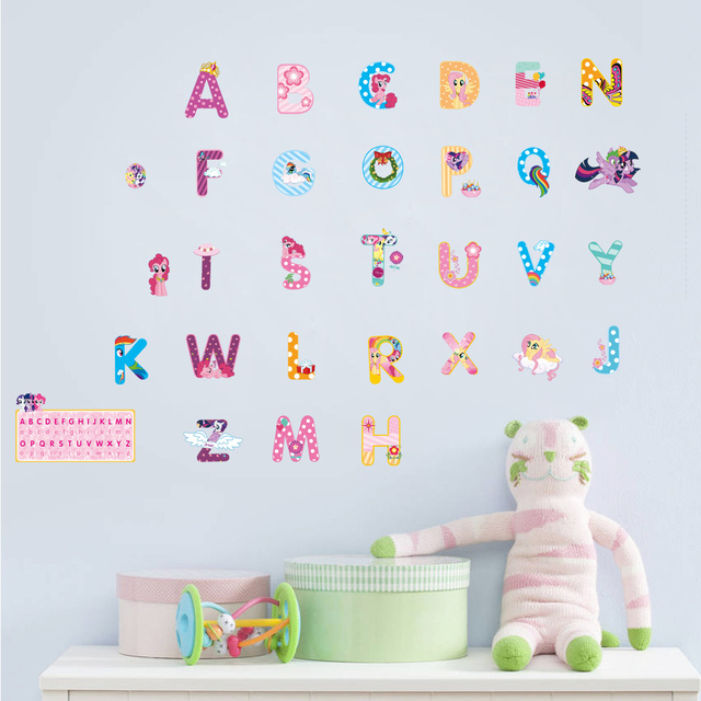 Cartoon Alphabet Lovely Letters Wall Stickers For Kids Rooms Nursery Room Decorations Mural Art Home