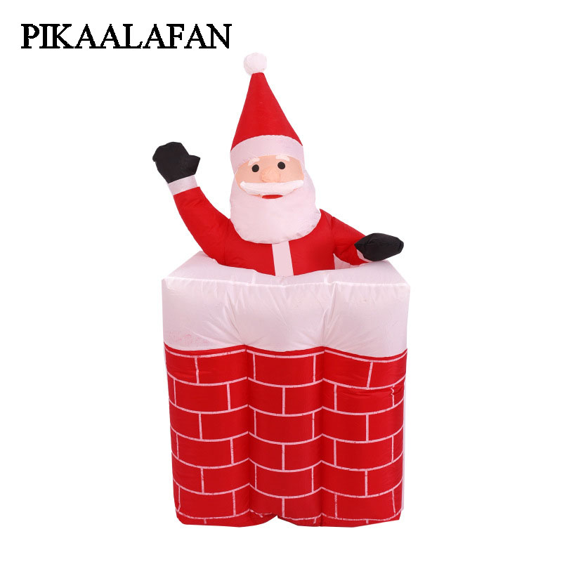 PIKAALAFAN Inflatable Model Santa Claus goes up and down chimneys light Christmas decorations Courtyard Decoration Gifts santa claus with gifts flowers printed pillow case