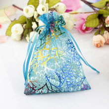 Wholesale 100pcs 7x9cm Blue Coralline Organza Bags Cute Wedding Jewelry Packaging Bags Organza Gift Bag Jewelry Display Pouches