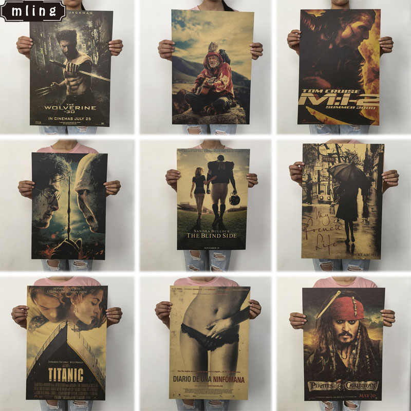 OLOEY 1PC 51.5x36cm Retro Movie Poster Kraft Paper Posters Classic Poster Bar Home Decoration Painting Wall Sticker