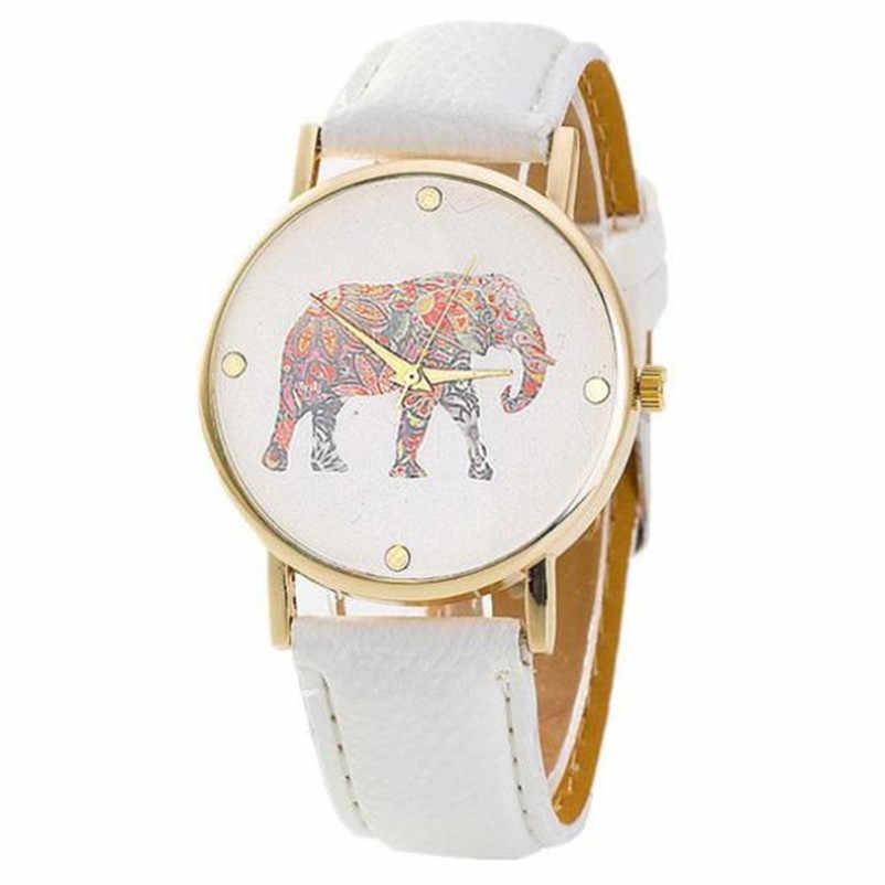 נשים פיל הדפסת דפוס פילס עור קוורץ חיוג שעון נשים שעון יד Hodinky Relogio Feminino שעונים שעון P40