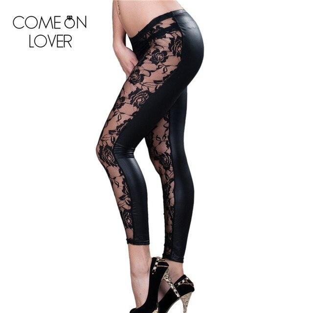 TE2022P Comeonlover Бесплатная доставка высокого качества для женщин леггинсы брюки jegging размер XL большой кружева черные леггинсы плюс размер леггинсы