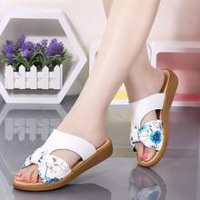 AARDIMI/женские шлепанцы; Летняя женская обувь из натуральной кожи; сандалии на плоской подошве с цветочным рисунком; женские сланцы; пляжная обувь