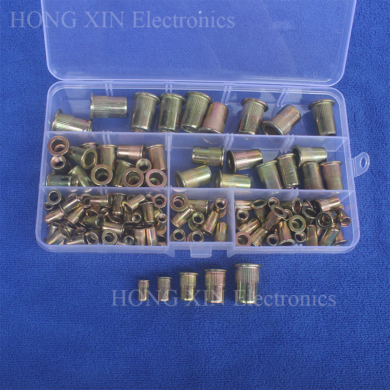 120pcs/set M4 M5 M6 M8 M10 Zinc Plated Knurled Nuts Rivnut Flat Head Threaded Rivet Insert Nutsert Cap Rivet Nut 165pcs m3 m4 m5 m6 m8 m10 m12 zinc plated knurled rivet nuts flat head threaded