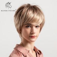 Синтетический короткий прямой парик из натуральных волос, блонд, единорог, 50%, для женщин, костюм, без клея, косплей, модный парик для афроамериканцев