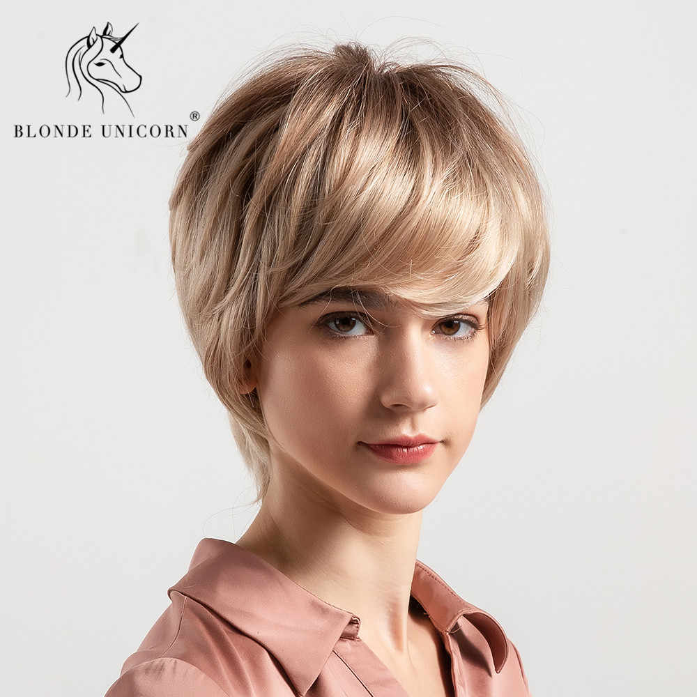 Blonde Unicorn Synthetic Short Straight 50% Natural Hair Wig For Women Costume Glueless Cosplay Trendy Wig For African American