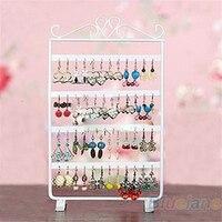 48 Holes Display Rack Metal Stand Holder Closet Jewelry Earrings Organizers Showcase Packaging Display Wholesale 015Q