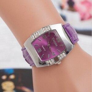 Женские кварцевые футляр для наручных часов стразы из искусственной кожи аналоговые часы