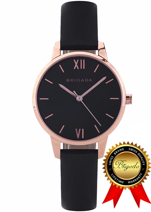 BRIGADA Elegant Nice Fashion Rose Gold Ladies Watches, Swiss Brand Black Dress Watch for Women dress watches women ladies gold